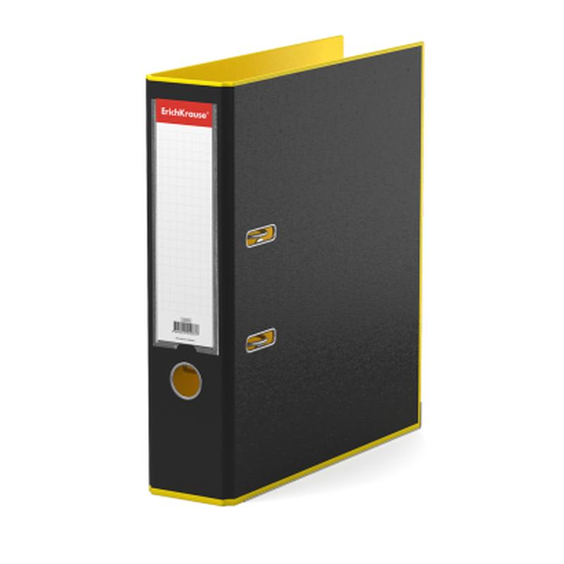 Папка–регистратор с арочным механизмом ErichKrause®, Accent, А4, 70 мм, желтый 51073
