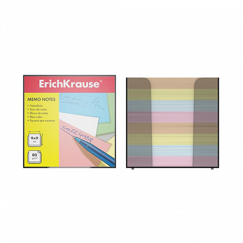 Бумага настольная ErichKrause®, 90x90x90 мм, 4 цвета, в пластиковом контейнере 5142