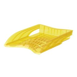 Лоток пластиковый для бумаг ErichKrause® S-Wing, Neon, желтый 51507