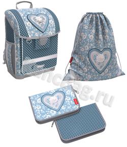 Ученический ранец с пластиковым дном ErichKrause® ErgoLine® 16L Lacey Heart с наполнением 51571/1