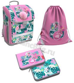 Ученический ранец с пластиковым дном ErichKrause® ErgoLine® 16L Rose Flamingo с наполнением 51574/1