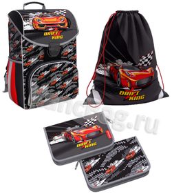 Ученический ранец ErichKrause® ErgoLine® 15L Drift King с наполнением 51591/1