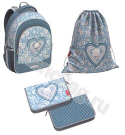Ученический рюкзак ErichKrause® ErgoLine® 15L Lacey Heart с наполнением 51600/1