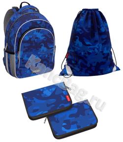 Ученический рюкзак ErichKrause® ErgoLine® 15L Sea Camo с наполнением 51604/1