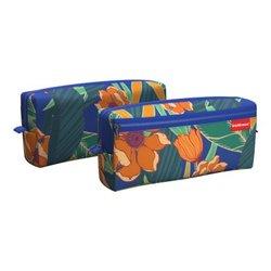 Пенал квадро с двумя отделениями ErichKrause® 210x100x50мм Exotic Flowers 52268