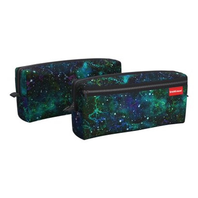 Пенал квадро с двумя отделениями ErichKrause® 210x100x50мм Emerald Stardust 52299
