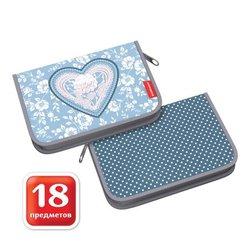 Пенал-книжка с наполнением ErichKrause® 135x205x30мм Lacey Heart 52562