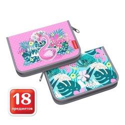 Пенал-книжка с наполнением ErichKrause® 135x205x30мм Rose Flamingo 52565