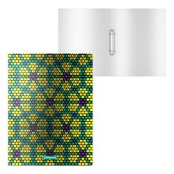 Папка на 2 кольцах пластиковая ErichKrause® Green&Yellow Beads, 24мм, A4 52799