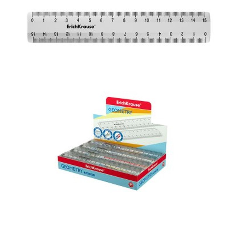 Линейка пластиковая  ErichKrause® Clear, 15 см, прозрачный, 52973