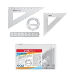 Набор геометрический большой ErichKrause® Clear (линейка 20см с держателем, угольники 16см и 22см, транспортир), прозрачный, в zip-пакете 52976