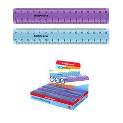 Линейка пластиковая ErichKrause® Standard, 15см, ассорти из 2 цветов. 52981