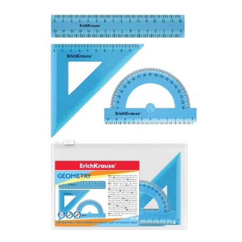 Набор геометрический малый ErichKrause® Standard (линейка 15см, угольник 9см/45°, транспортир 180°/10 см), голубой, в zip-пакете 52991