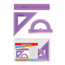 Набор геометрический малый ErichKrause® Standard (линейка 15см, угольник 9см/45°, транспортир 180°/10 см), сиреневый, в zip-пакете 52992
