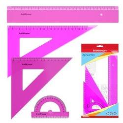 Набор геометрический большой ErichKrause® Neon (линейка 30см, угольники 16см/45° и 22см/60°, транспортир 180°/10 см), розовый, в флоупаке 53018