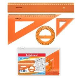 Набор геометрический большой ErichKrause® Neon (линейка 30см, угольники 7 см и 22см, транспортир 360°), оранжевый, в zip-пакете 53019