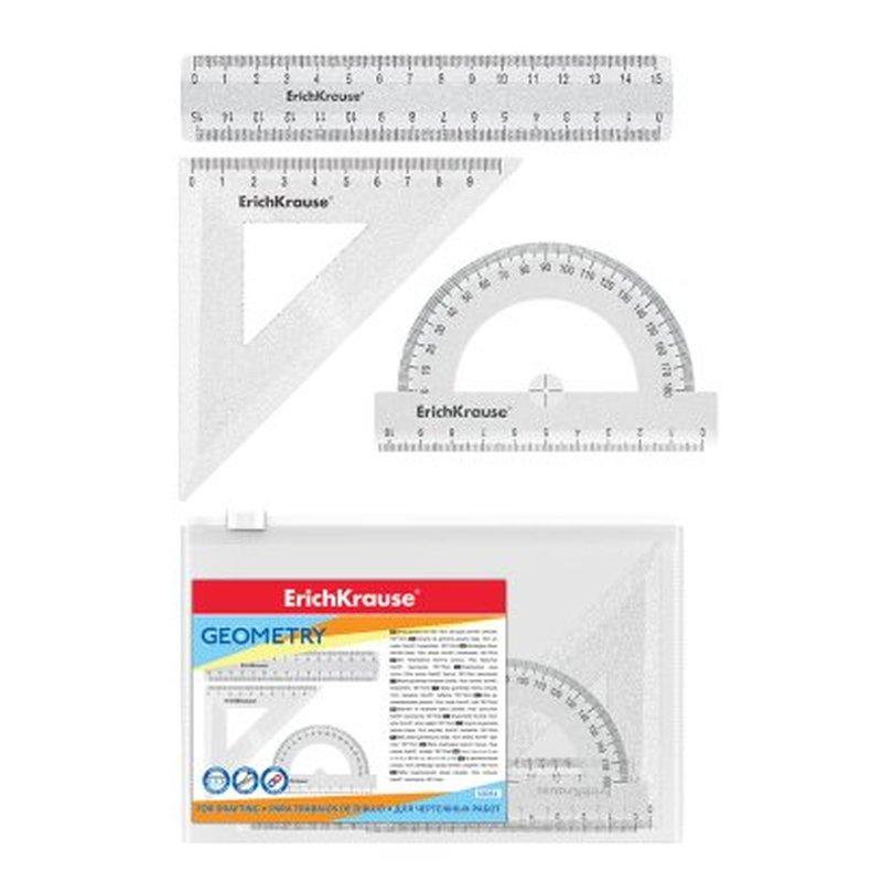 Набор геометрический малый ErichKrause® Clear Glitter (линейка 15см, угольник 9см, транспортир 180°), прозрачный с блестками, в zip-пакете 53031