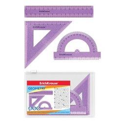 Набор геометрический малый ErichKrause® Standard Glitter (линейка 15см, угольник 9см, транспортир 180°), сиреневый с блестками, в zip-пакете 53032