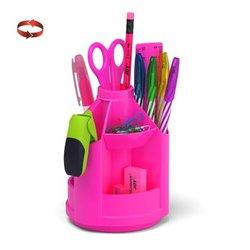Набор настольный на вращающейся подставке ErichKrause® Mini Desk, Neon Solid, розовый 53227