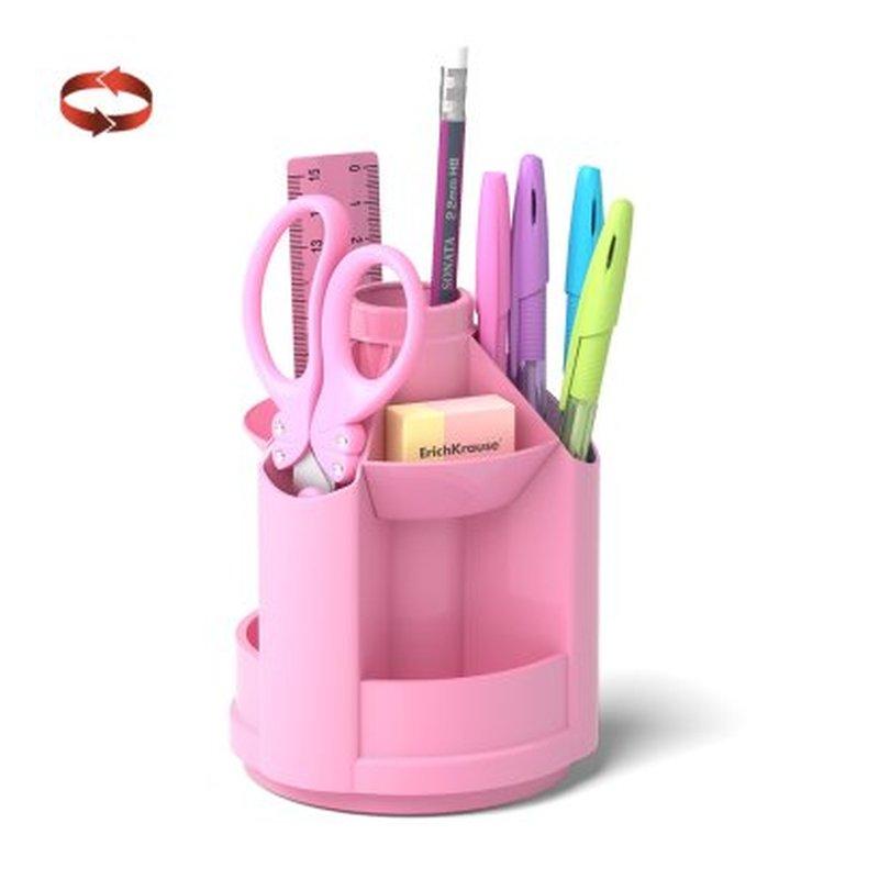 Набор настольный на вращающейся подставке ErichKrause® Mini Desk, Pastel, розовый 53231