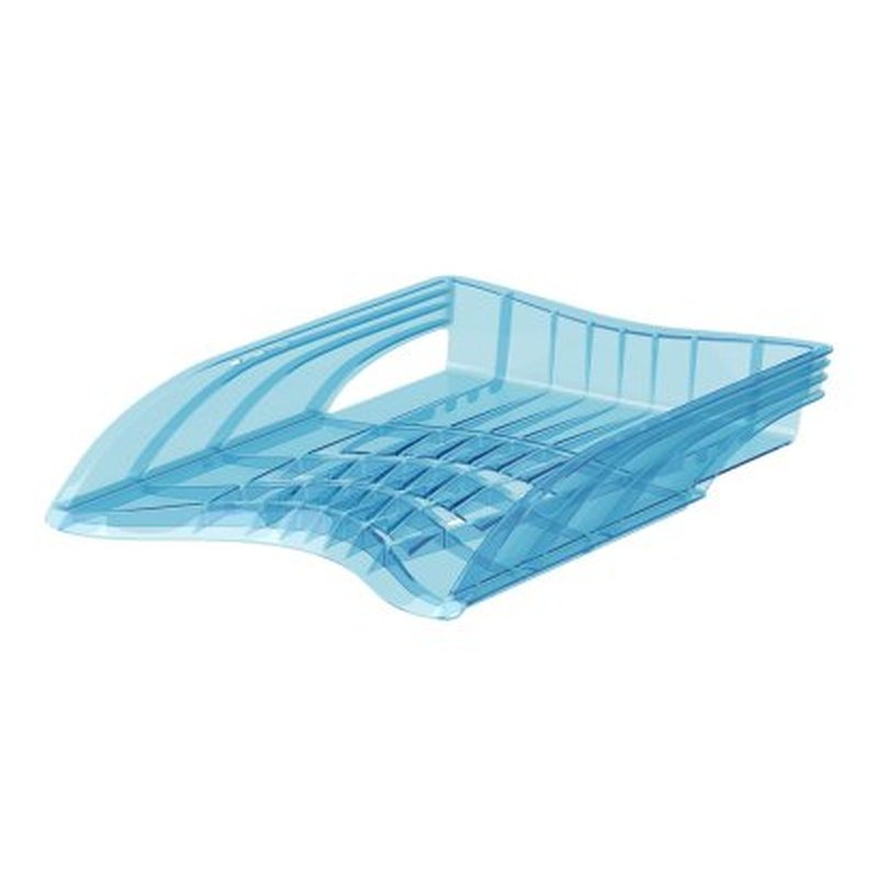 Лоток пластиковый для бумаг ErichKrause® S-Wing, Standard, голубой 53248