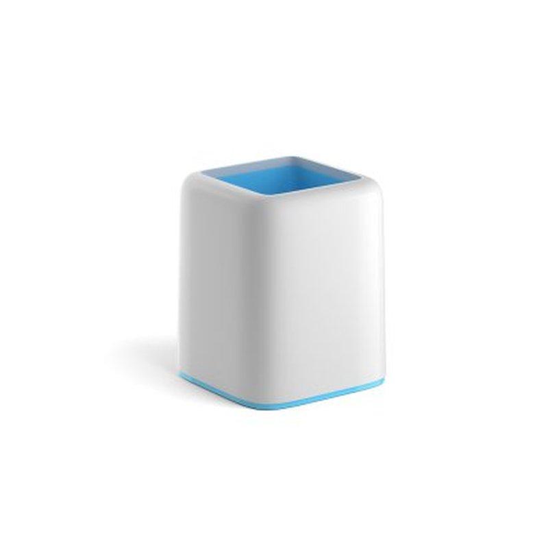 Подставка пластиковая для пишущих принадлежностей ErichKrause® Forte, Pastel, белый с голубой вставкой 53257