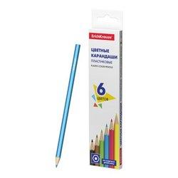Пластиковые цветные карандаши шестигранные ErichKrause® Basic 6 цветов 53360