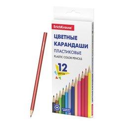 Пластиковые цветные карандаши шестигранные ErichKrause® Basic 12 цветов 53361