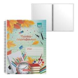 Папка-портфолио пластиковая ErichKrause® School Time, c 40 карманами, A4 53372