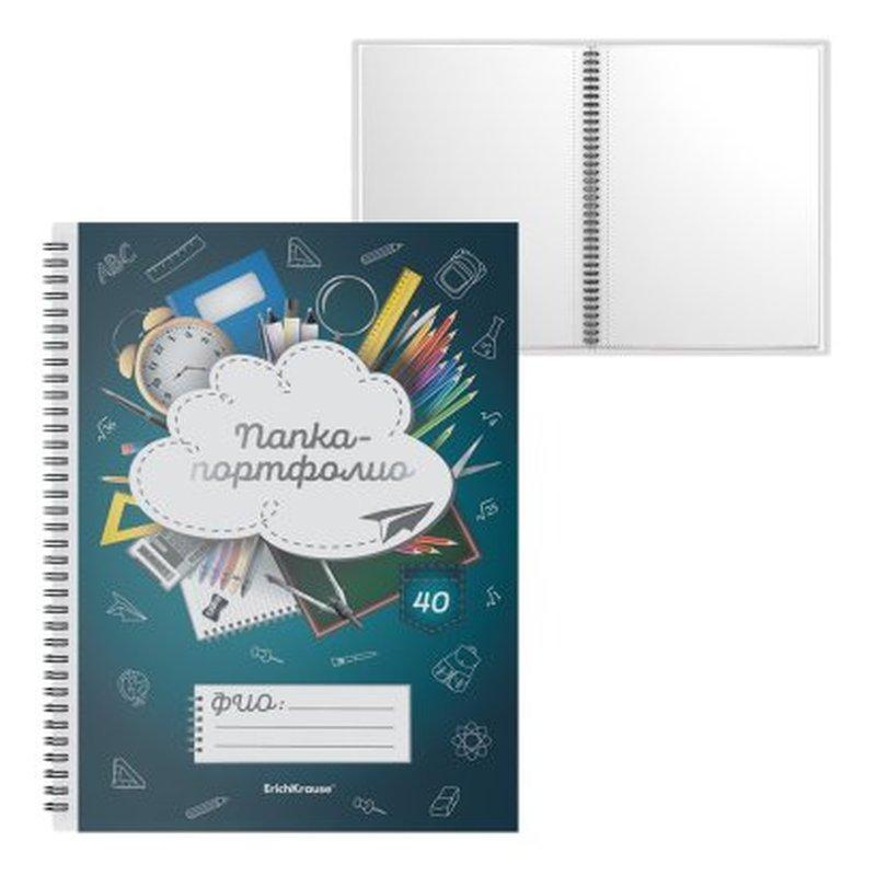 Папка-портфолио пластиковая ErichKrause® School Life, c 40 карманами, A4 53373