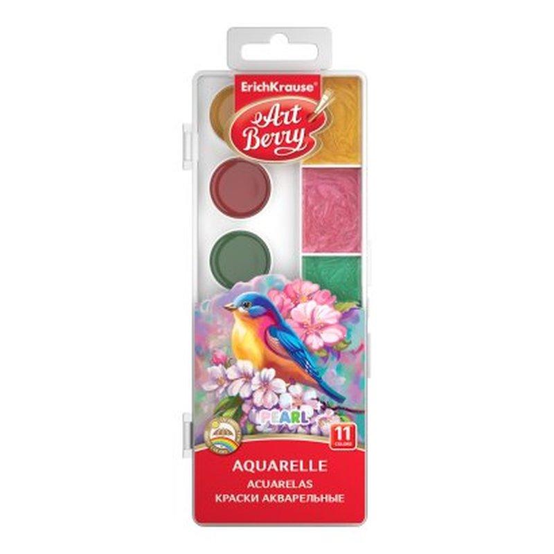 Краски акварельные ArtBerry® Pearl с УФ защитой яркости 11 цветов с увеличенными кюветами 53407