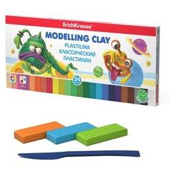 Классический пластилин ErichKrause® Monsters 24 цветов со стеком, 360г (коробка) 53412