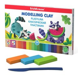 Классический пластилин ErichKrause® 24 цвета со стеком, 432г 53413