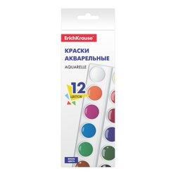 Краски акварельные ErichKrause® Basic 12 цветов (картон с европодвесом) 53447