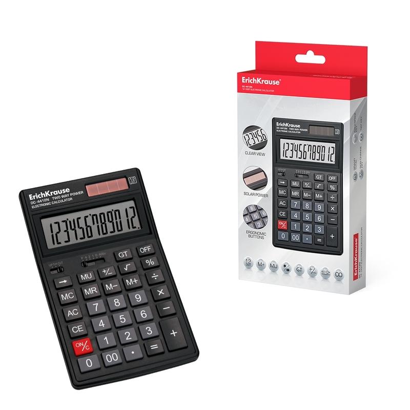 Калькулятор ErichKrause® 12-разрядов DC-4412N. 54412