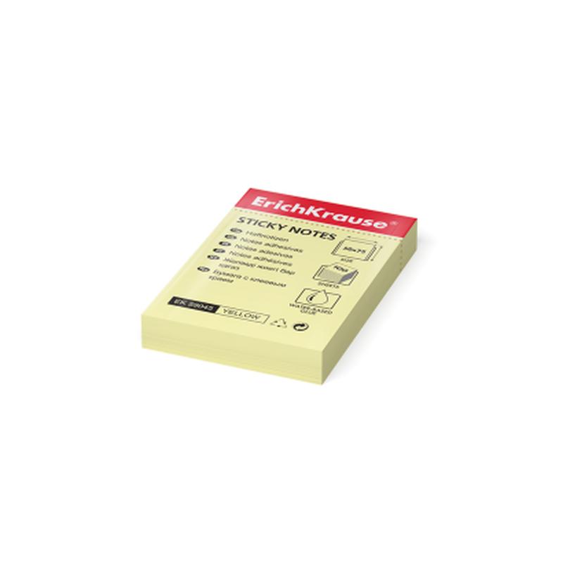 Бумага для заметок с клеевым краем ErichKrause®, 50х75 мм, 100 листов, желтый 59045