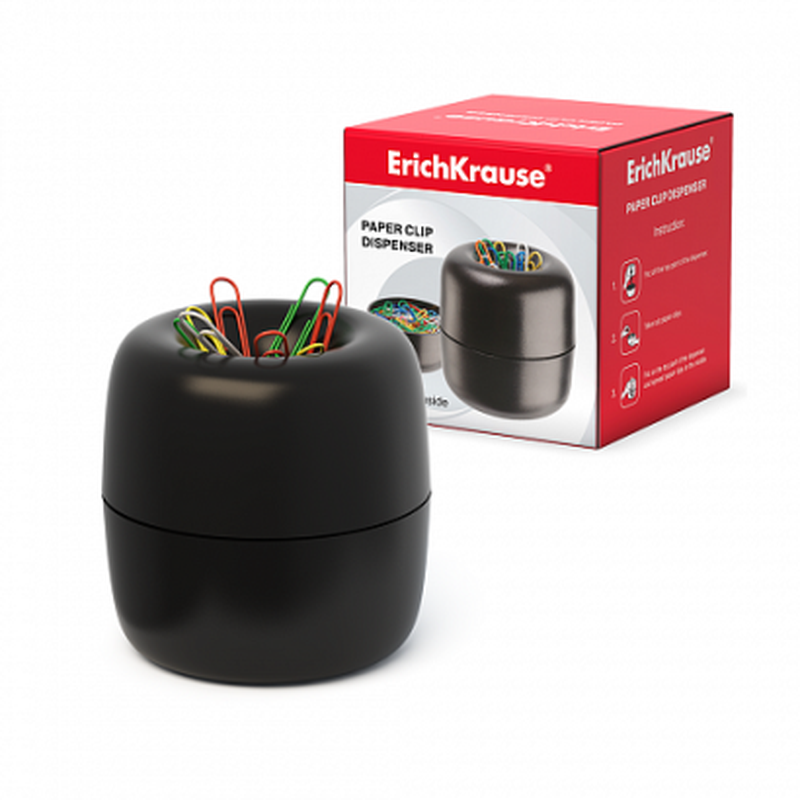 Диспенсер для скрепок магнитный ErichKrause®, в наборе 30 цветных скрепок  605