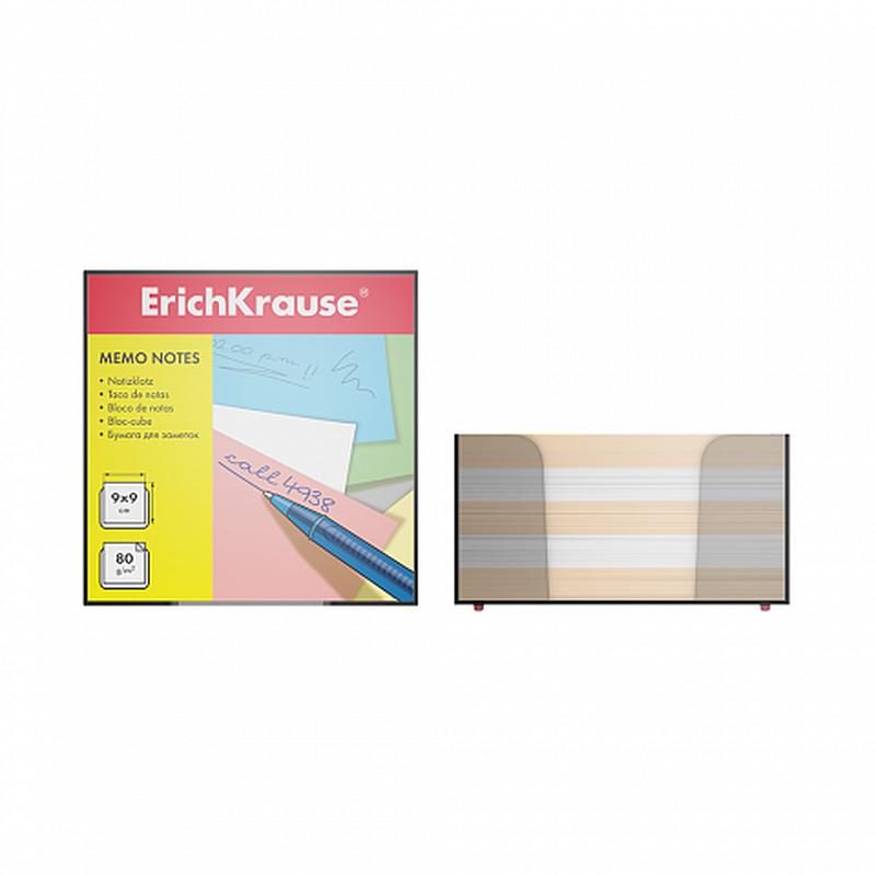 Бумага настольная ErichKrause®, 90x90x50 мм, 2 цвета: белый, персиковый, в пластиковом контейнере 6601