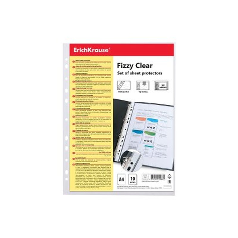 Набор перфофайлов пластиковых ErichKrause® Fizzy Clear, 30 мкм, A4, прозрачный (в пакете по 10 шт.) 67910