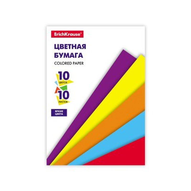 Цветная бумага на клею ErichKrause®, А5, 10 листов, 10 цветов, игрушка-набор для детского творчества 53157