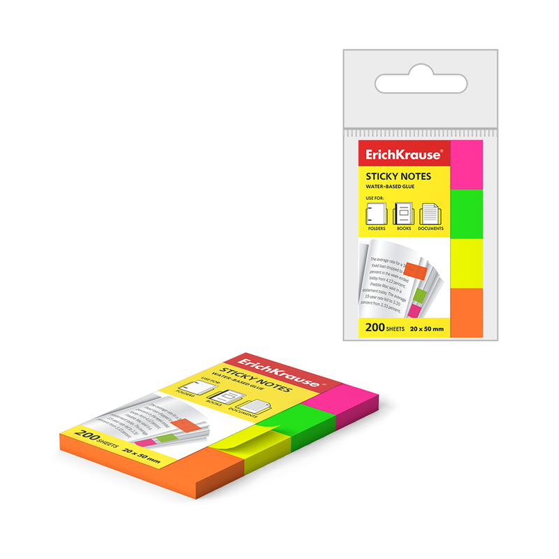 Закладки бумажные с клеевым краем ErichKrause® Neon, 20х50 мм, 200 листов, 4 цвета 7324
