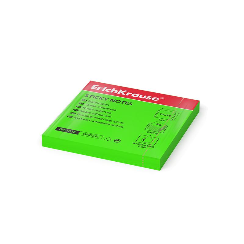 Бумага для заметок с клеевым краем ErichKrause® Neon, 75х75 мм, 80 листов, зеленый 7335