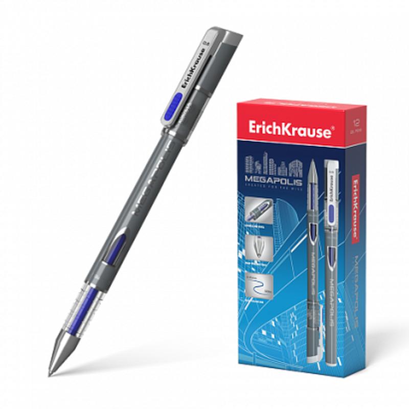 Ручка гелевая ErichKrause® MEGAPOLIS® Gel, цвет чернил синий (в блистере по 1 шт.) 92