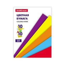 Цветная бумага на клею ErichKrause®, А4, 10 листов, 10 цветов, игрушка-набор для детского творчества 53156