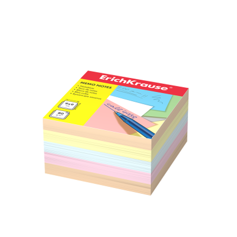 Бумага для заметок ErichKrause®, 90x90x50 мм, 4 цвета 5139