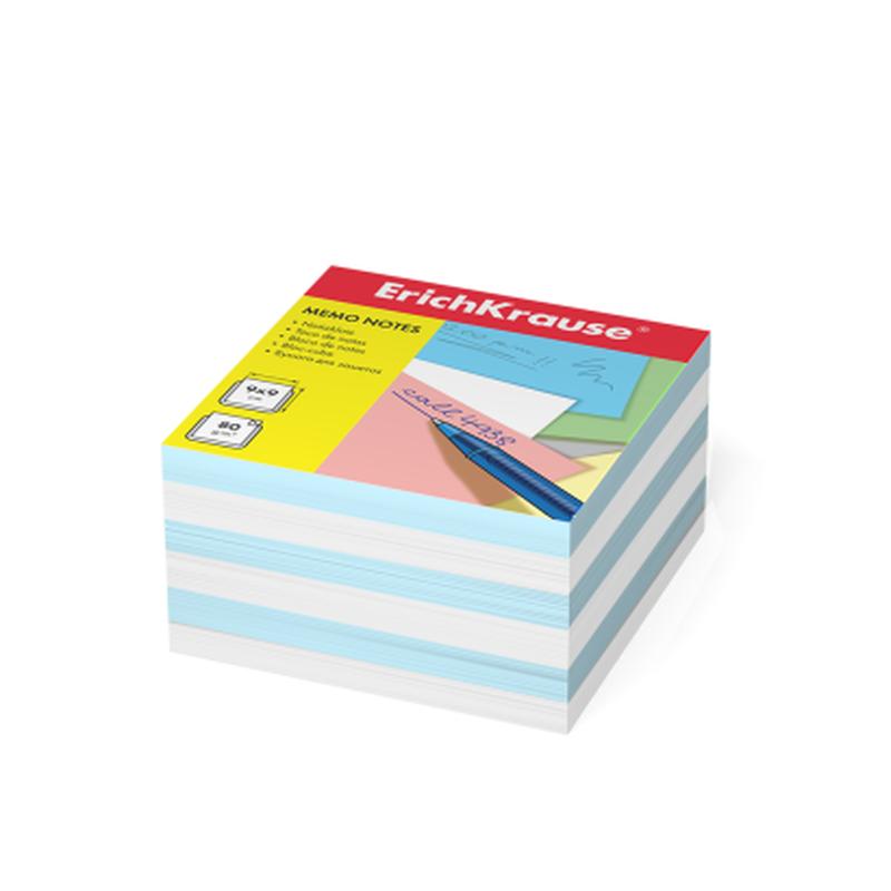 Бумага для заметок ErichKrause®, 90x90x50 мм, 2 цвета: белый, голубой 2723