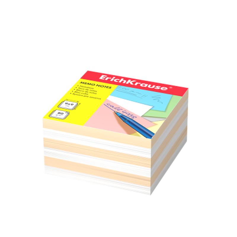 Бумага для заметок ErichKrause®, 90x90x50 мм, 2 цвета: белый, персиковый 6600
