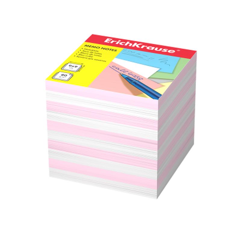 Бумага для заметок ErichKrause®, 90x90x90 мм, 2 цвета: белый, розовый 4455