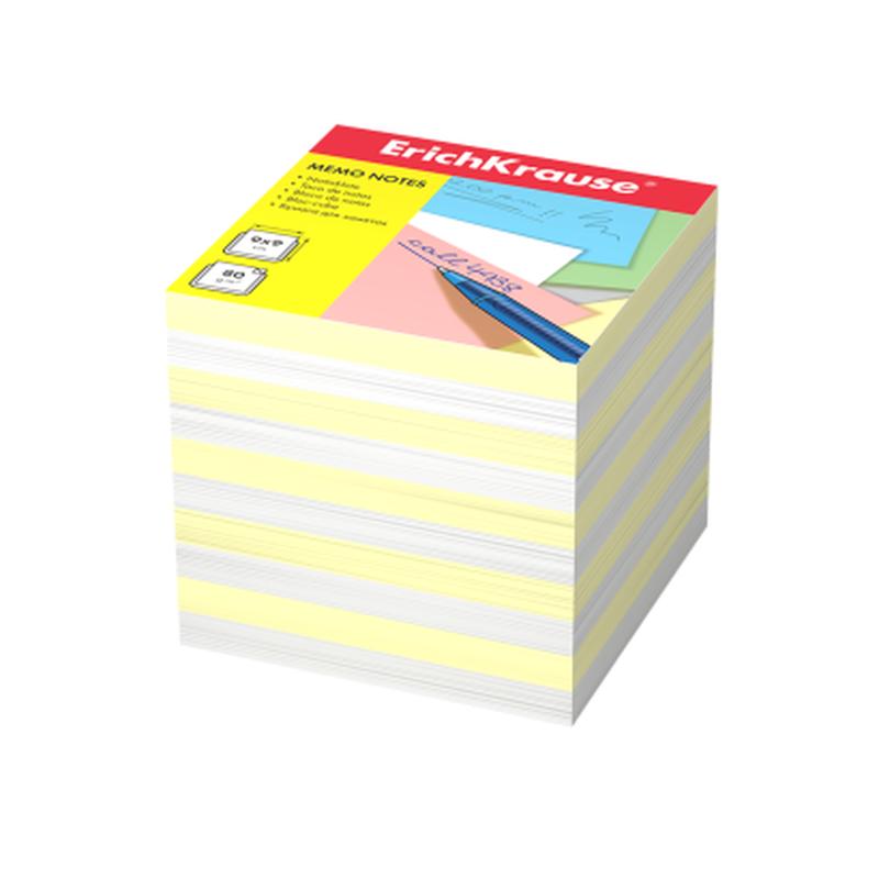 Бумага для заметок ErichKrause®, 90x90x90 мм, 2 цвета: белый, желтый 4456