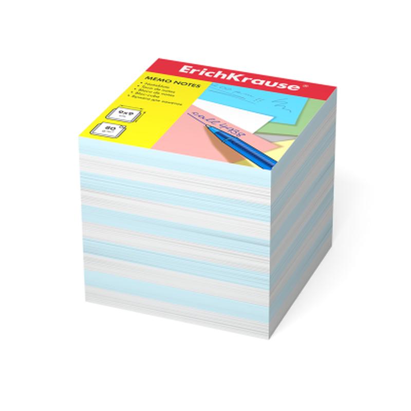 Бумага для заметок ErichKrause®, 90x90x90 мм, 2 цвета: белый, голубой 4457